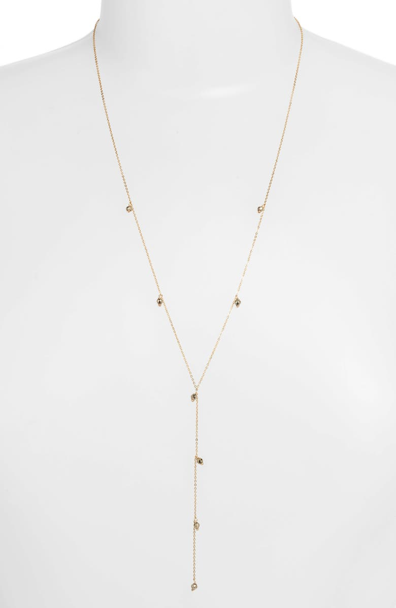 MARIDA Stardust Y-Necklace, Main, color, PYRITE/ GOLD
