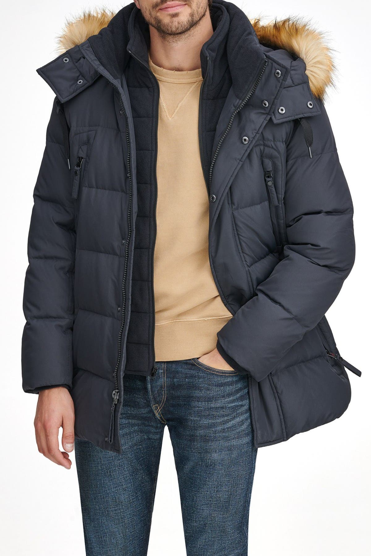 Image of Andrew Marc Conway Faux Fur Trimmed Hooded Jacket