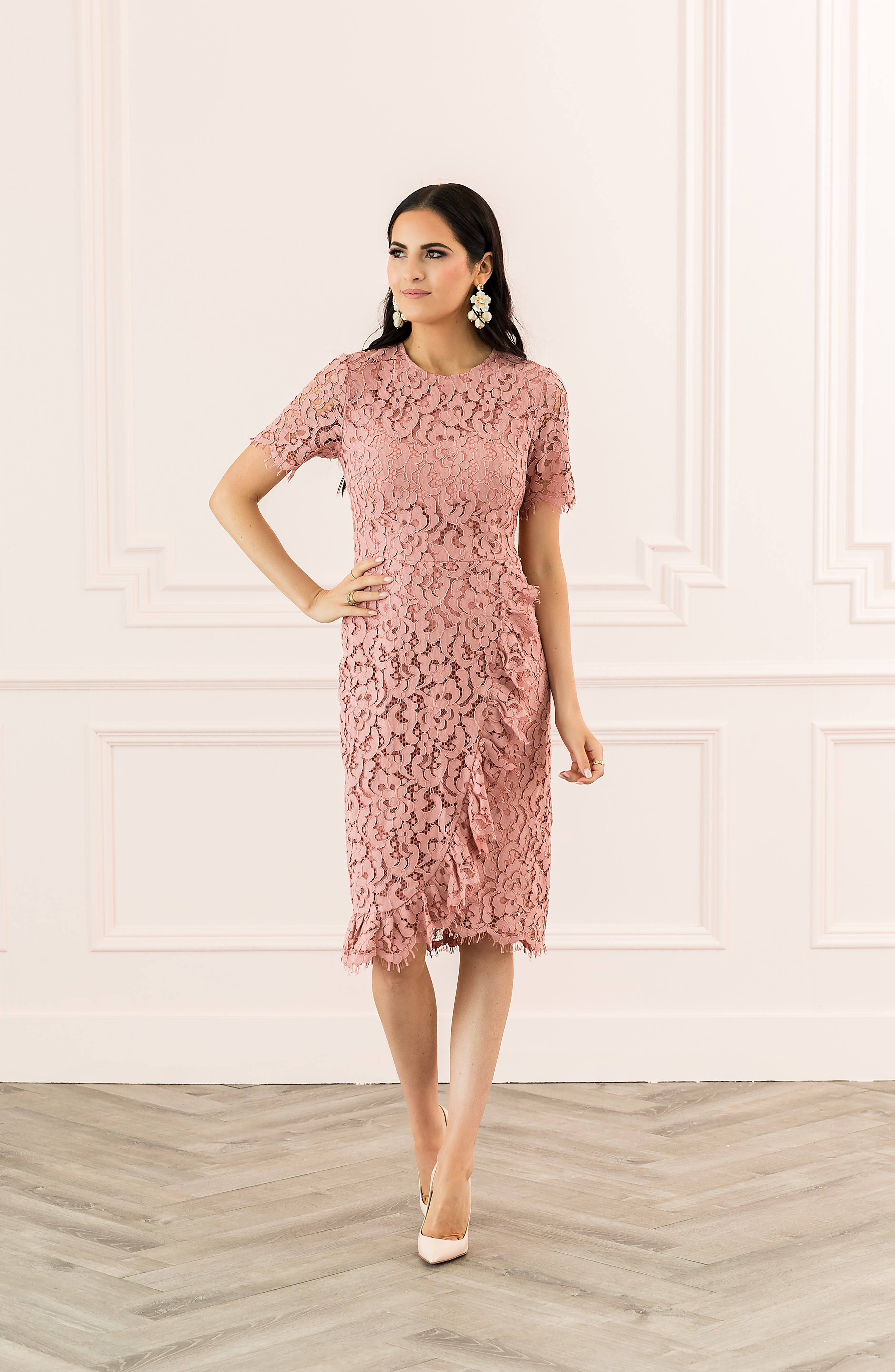 ,                             Ruffle Front Lace Sheath Dress,                             Alternate thumbnail 8, color,                             PINK BEAUTY