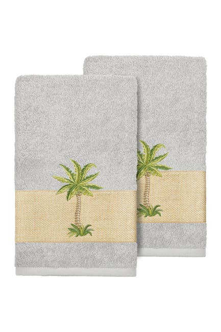 Image of LINUM HOME Colton Embellished Hand Towel - Set of 2 - Light Grey