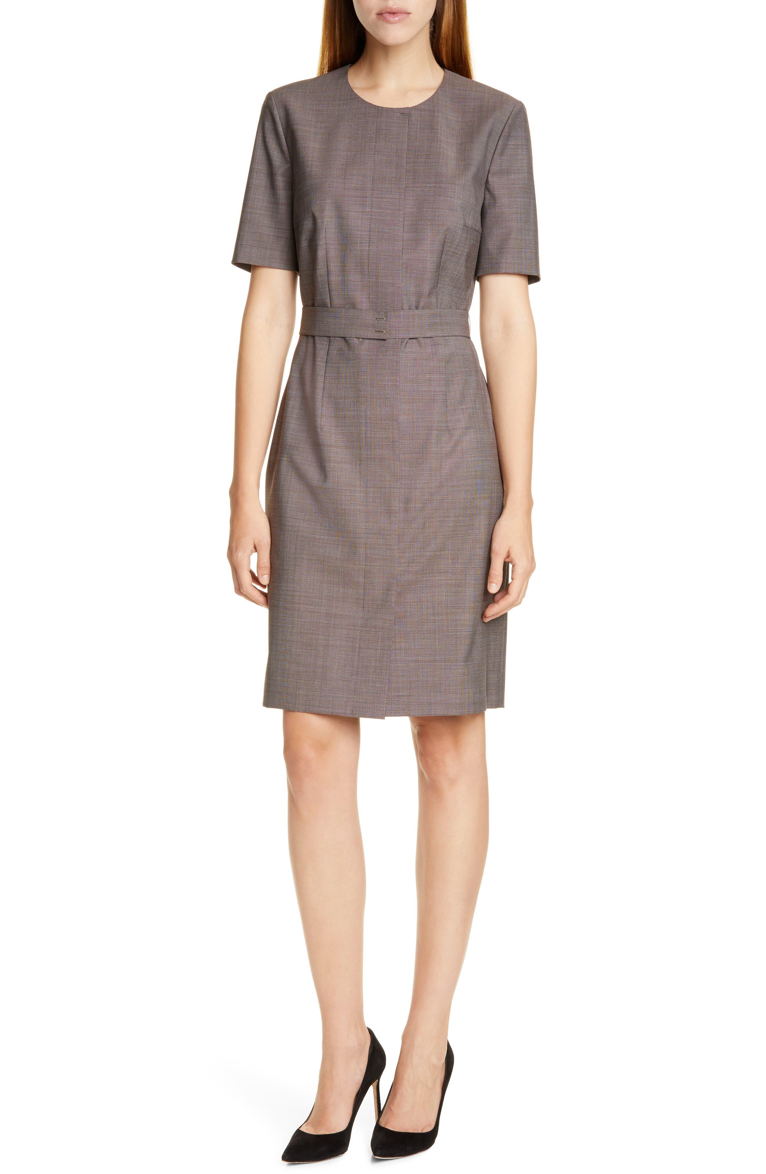 Image of BOSS Damaren Wool Sheath Dress