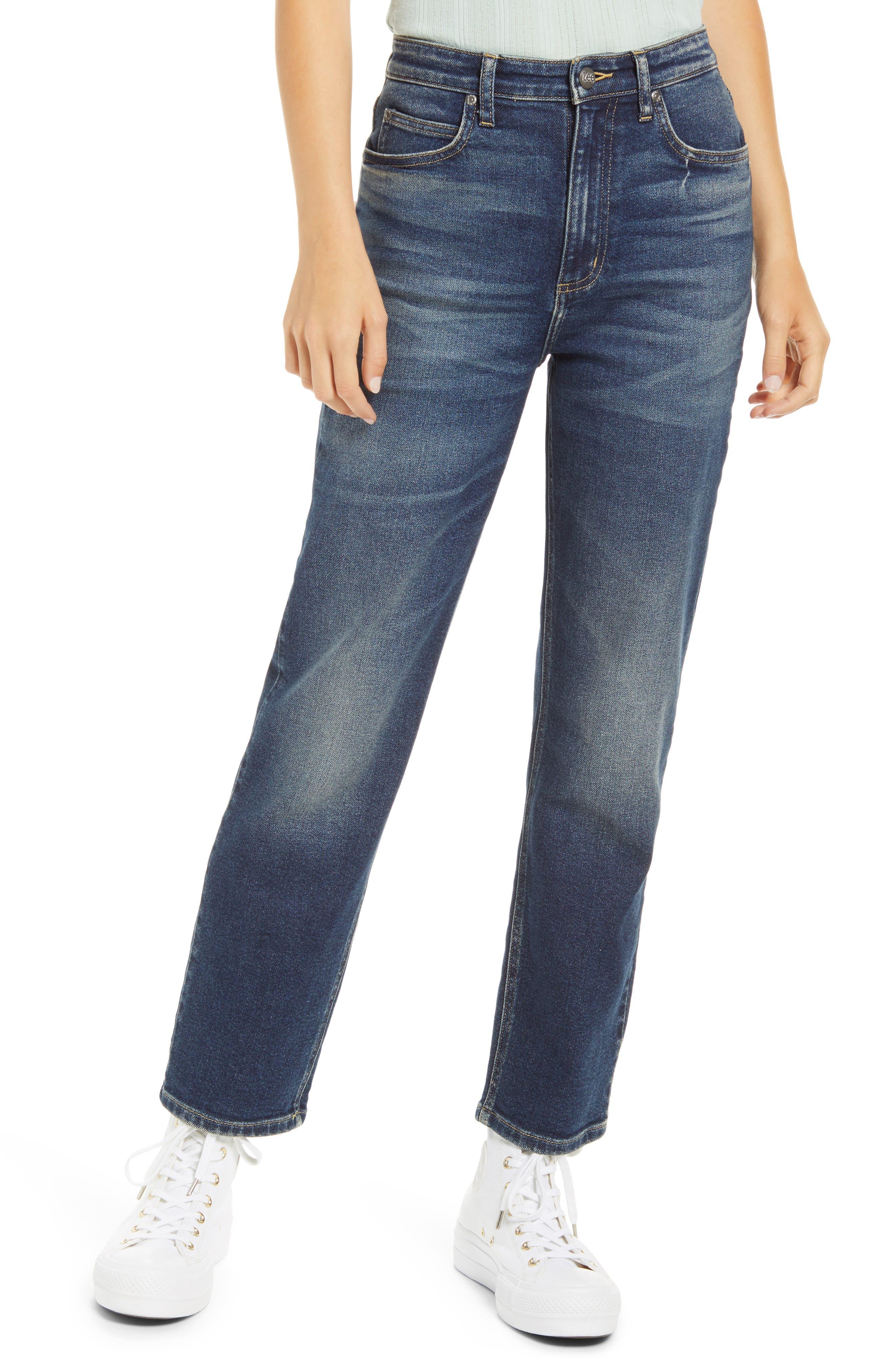 High Waist Ankle Straight Leg Jeans