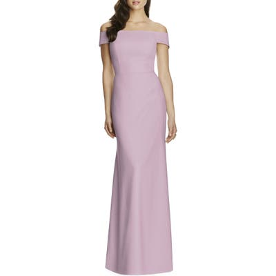 Dessy Collection Off The Shoulder Crepe Gown, Purple
