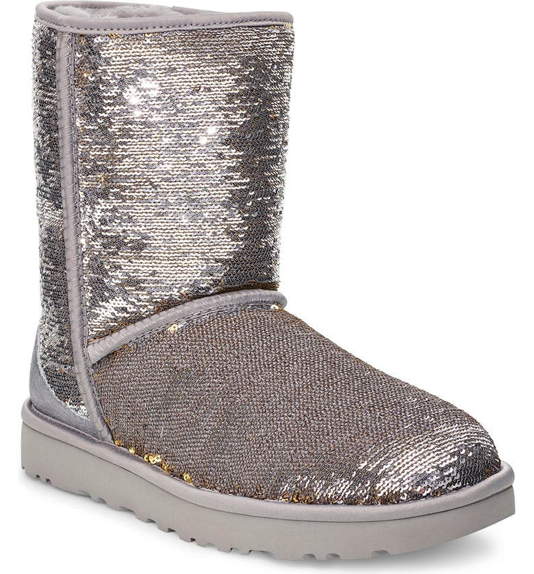 UGG<SUP>®</SUP> Classic Cosmos sequin Short Boot, Main, color, SILVER/ GOLD