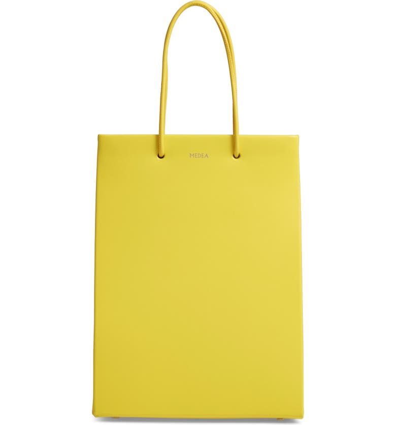MEDEA Prima Tall Calfskin Leather Bag, Main, color, YELLOW