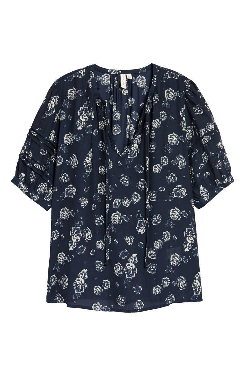 TREASURE & BOND Floral Print Puff Sleeve Blouse, Main, color, NAVY MOODY FLORAL