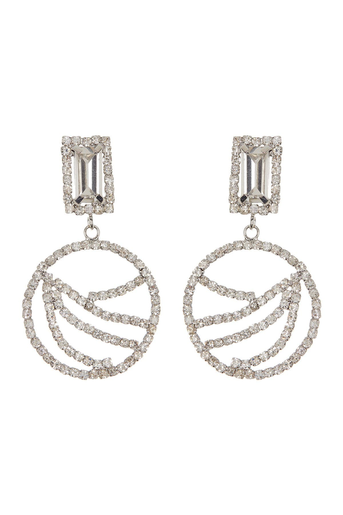 Image of CRISTABELLE Pave Crystal Open Circle Drop Earrings