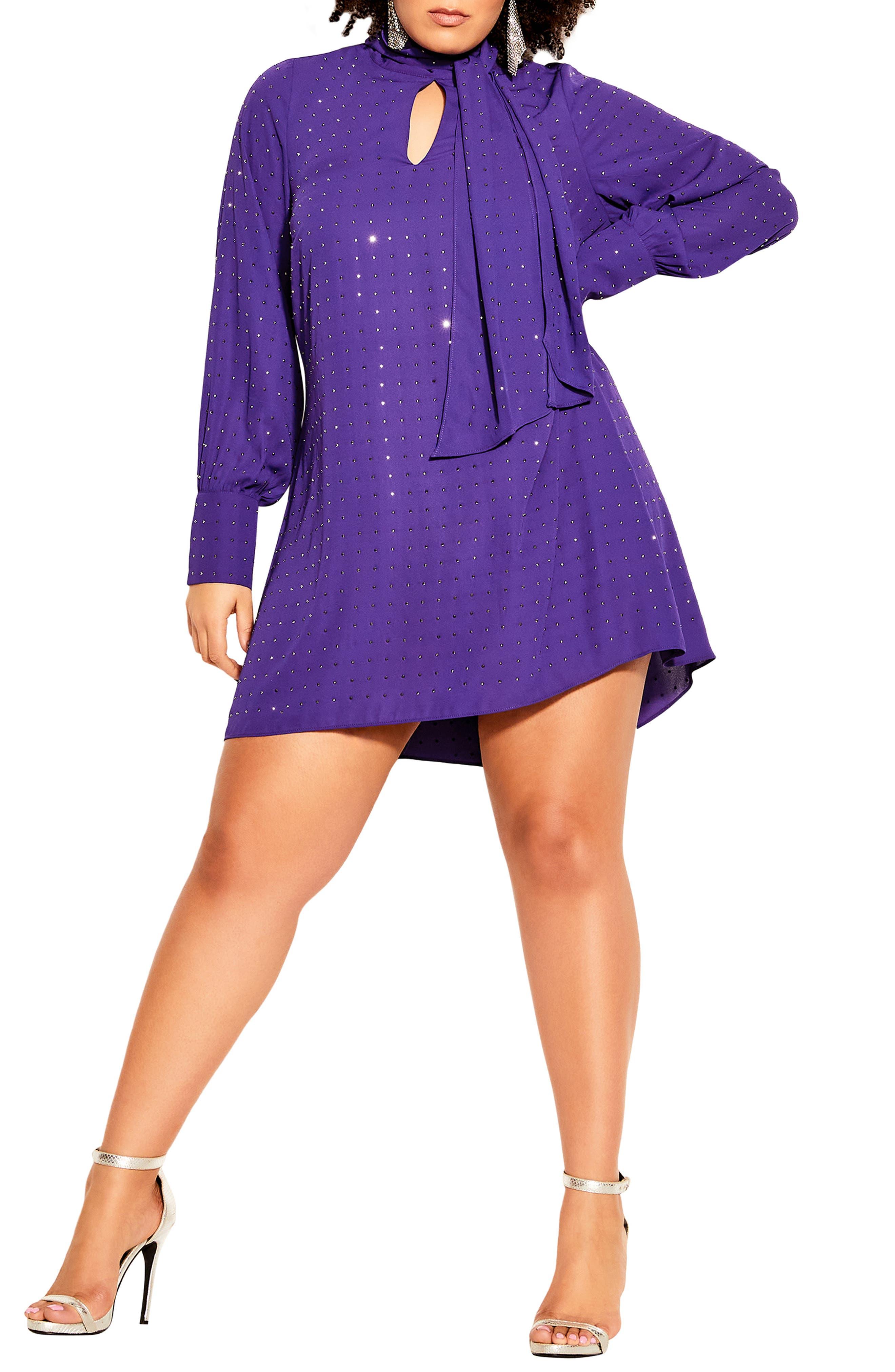 60s 70s Plus Size Dresses, Clothing, Costumes Plus Size Womens City Chic Nailhead Studded Long Sleeve Tunic Dress Size XX-Large - Purple $99.00 AT vintagedancer.com