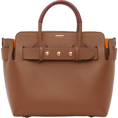 Burberry Small Belt Triple Stud Leather Tote - Brown