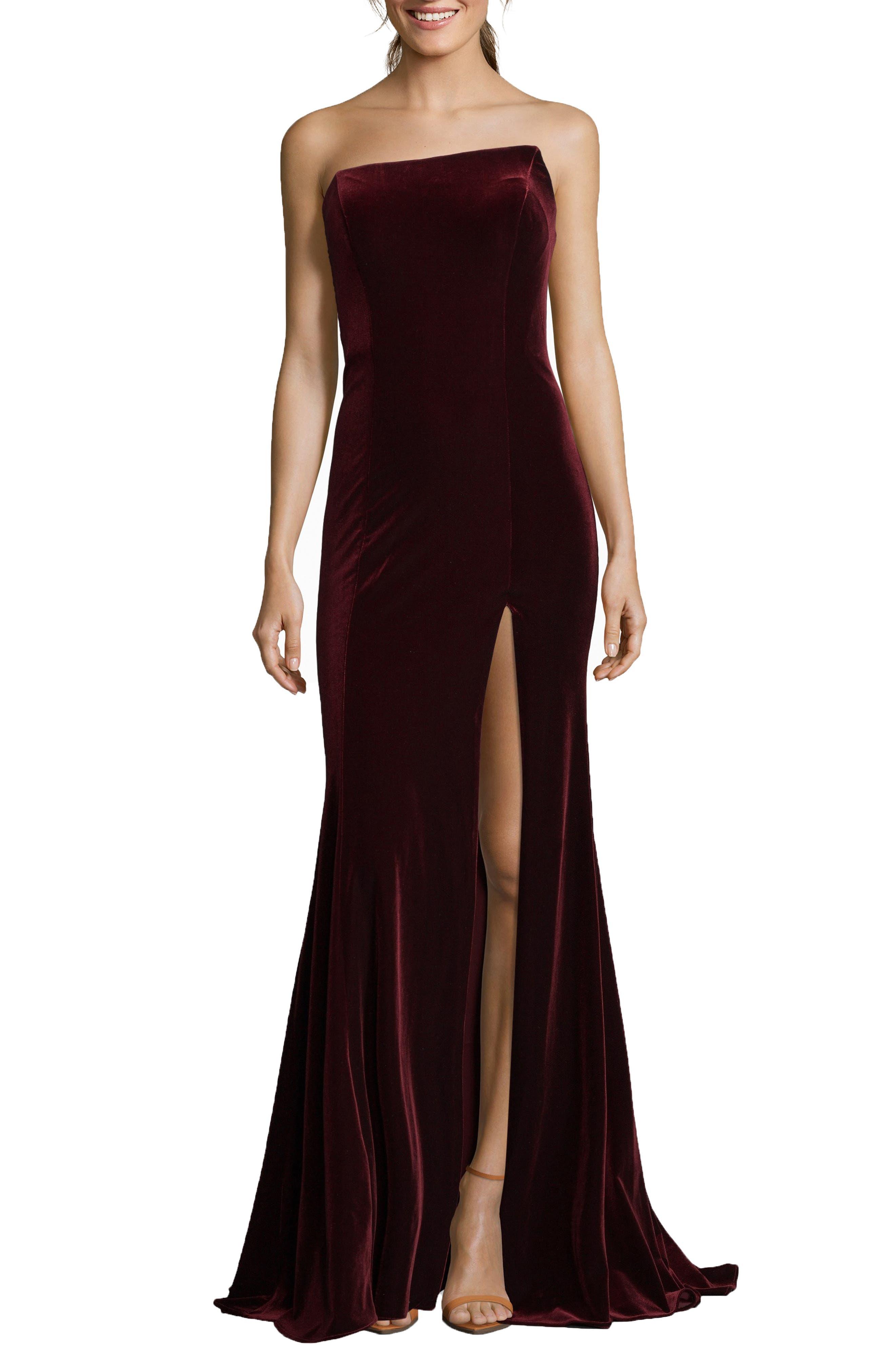 Xscape Strapless Velvet Gown, Burgundy