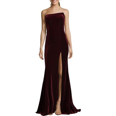 Xscape Strapless Velvet Gown, Burgundy