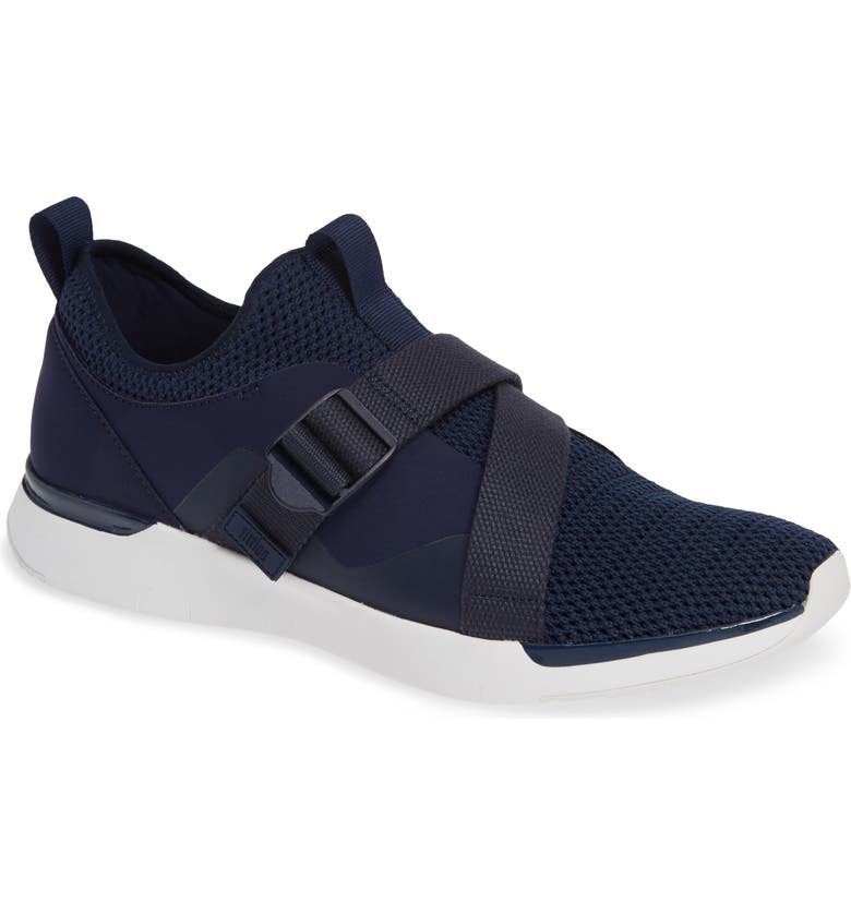 FITFLOP FlexKnit Strap Sneaker, Main, color, MIDNIGHT NAVY TEXTILE