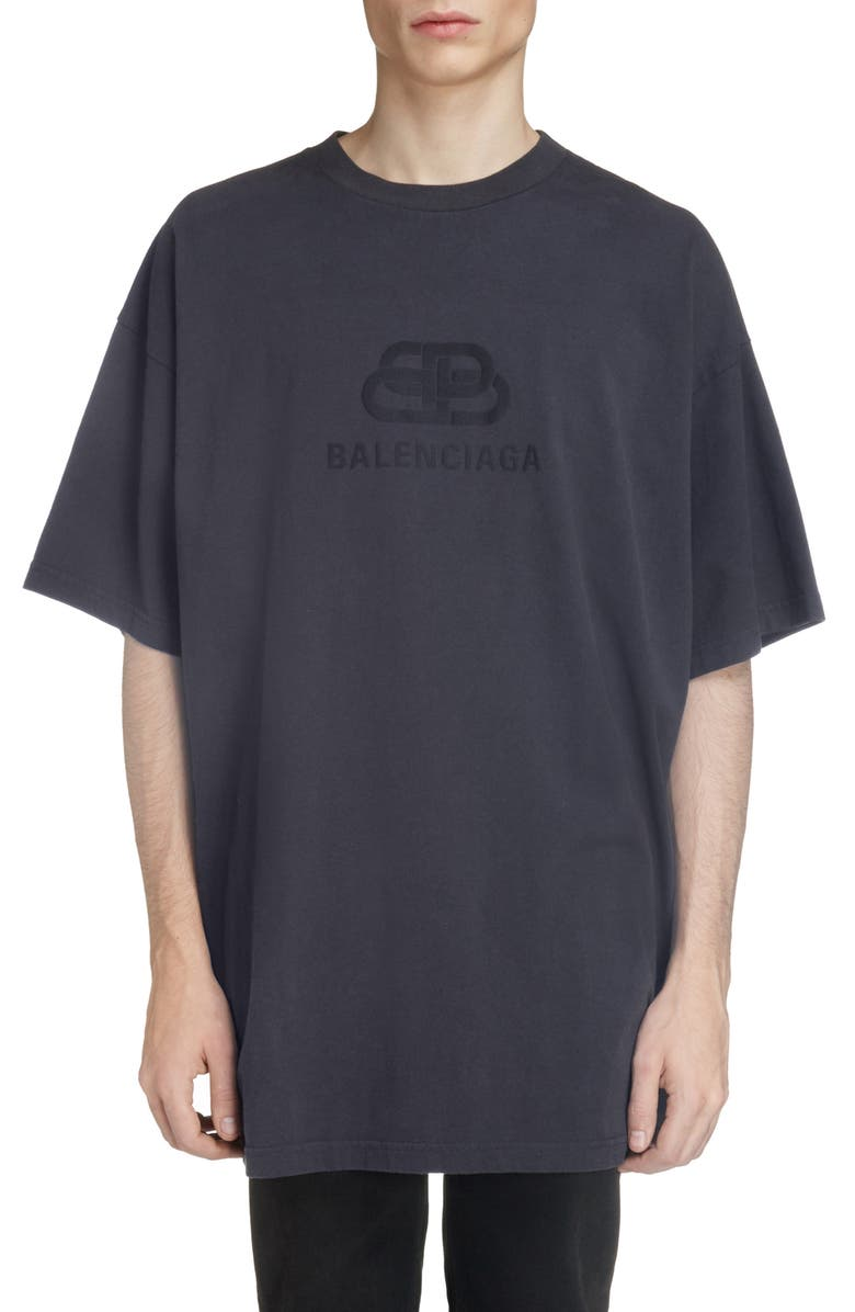 BALENCIAGA Longline Logo T-Shirt, Main, color, WASHED BLACK/ BLACK