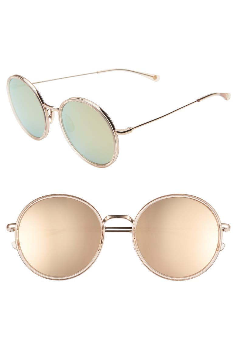 SALT. Audrey 56mm Mirrored Polarized Round Sunglasses, Main, color, ROSE GOLD/ GOLD