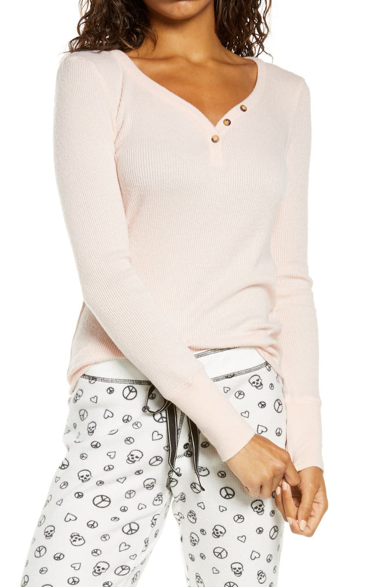 PJ SALVAGE Pointelle Ribbed Henley, Main, color, BLUSH