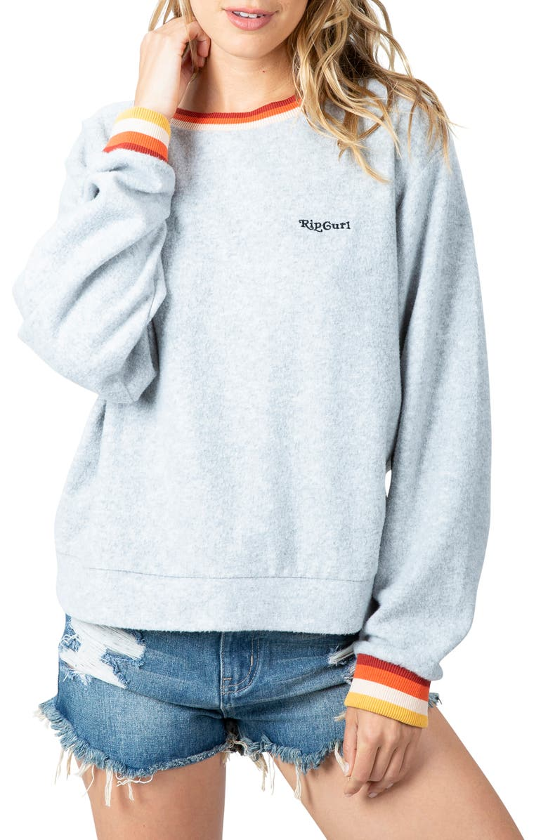 RIP CURL Boardwalk Fleece Sweatshirt, Main, color, DARK GREY HEATHER