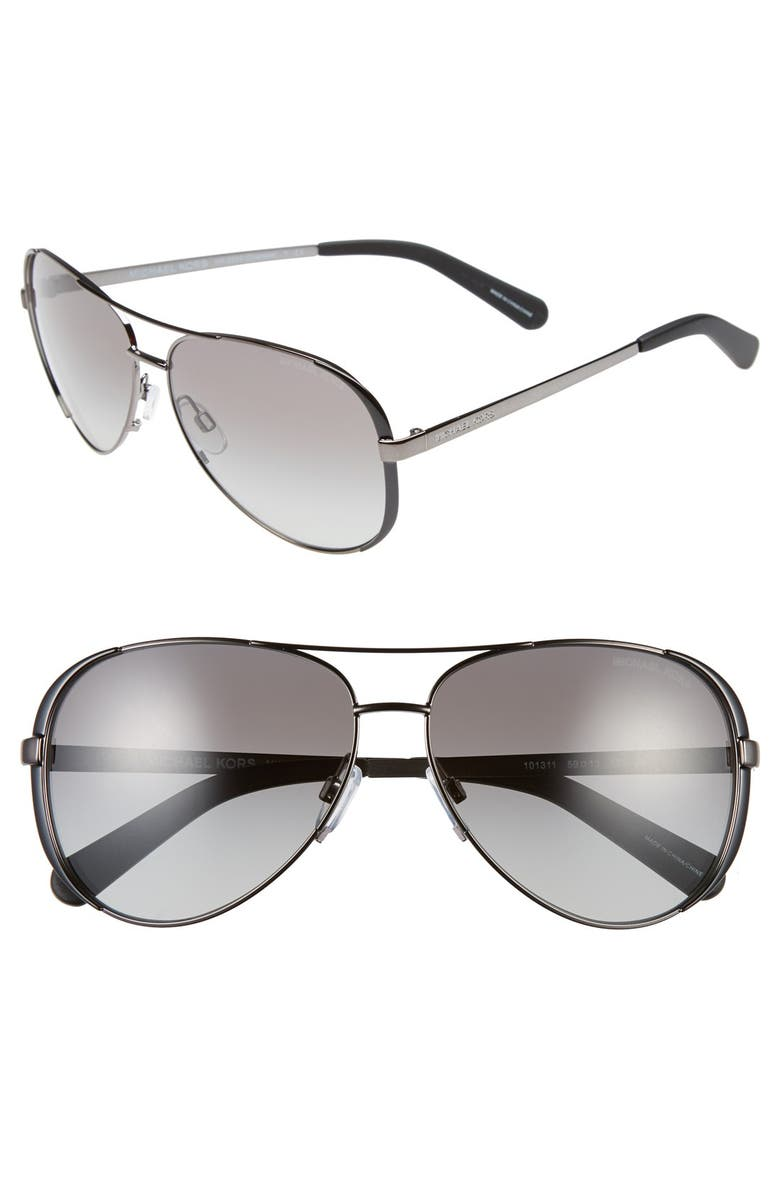 MICHAEL KORS Collection 59mm Aviator Sunglasses, Main, color, GUNMETAL/ BLACK/ GREY GRADIENT