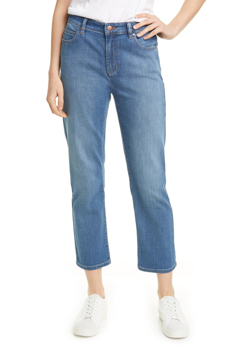 EILEEN FISHER High Waist Ankle Jeans, Main, color, SKY BLUE