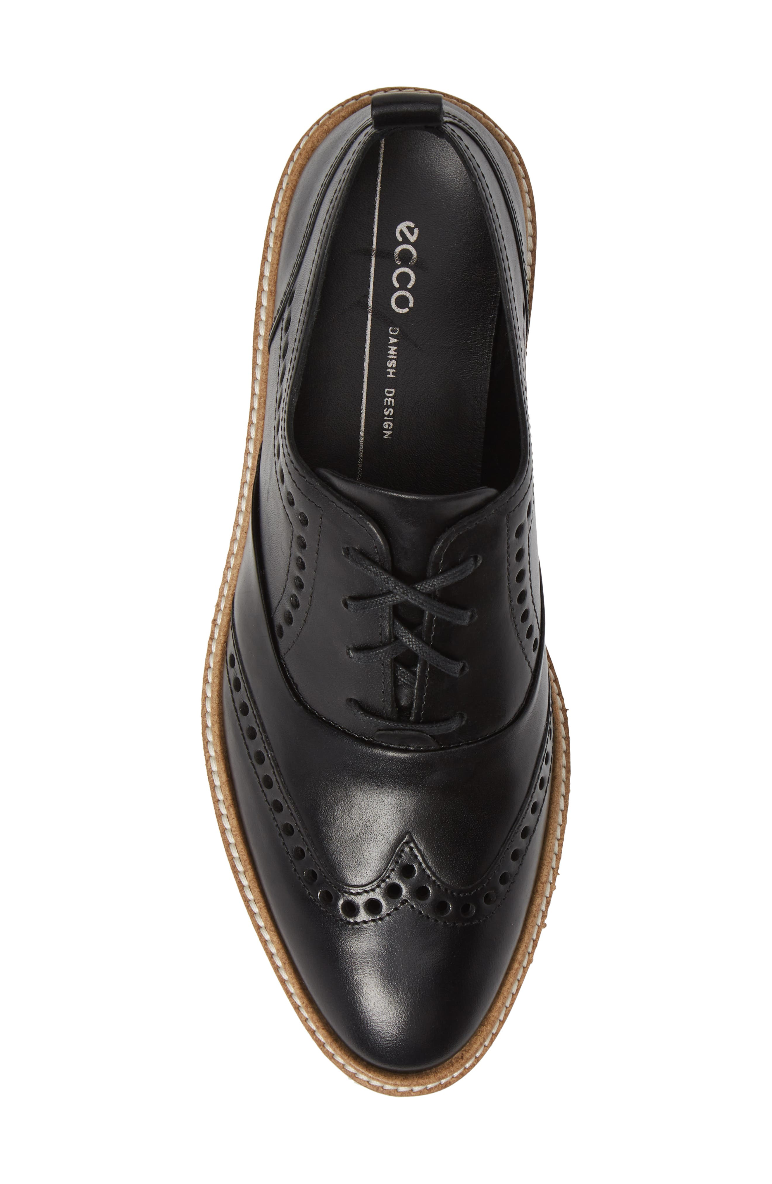 ,                             Incise Tailored Wingtip Oxford,                             Alternate thumbnail 5, color,                             BLACK LEATHER