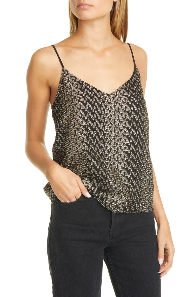 EQUIPMENT Metallic Detail Silk Blend Camisole, Main, color, 001