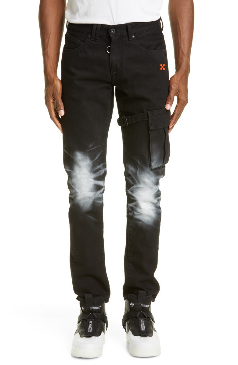OFF-WHITE Slim Fit Asymmetrical Cargo Jeans, Main, color, BLACK ORANGE