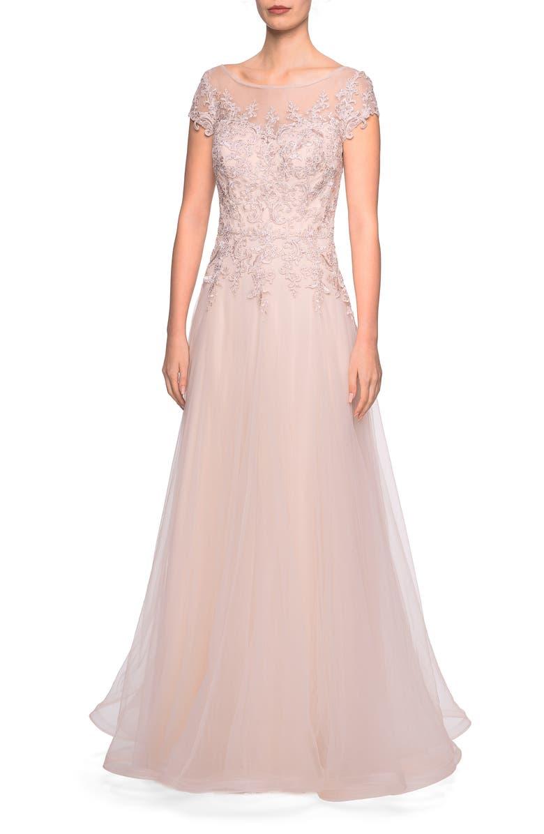 LA FEMME Tulle A-Line Evening Dress, Main, color, LIGHT BLUSH