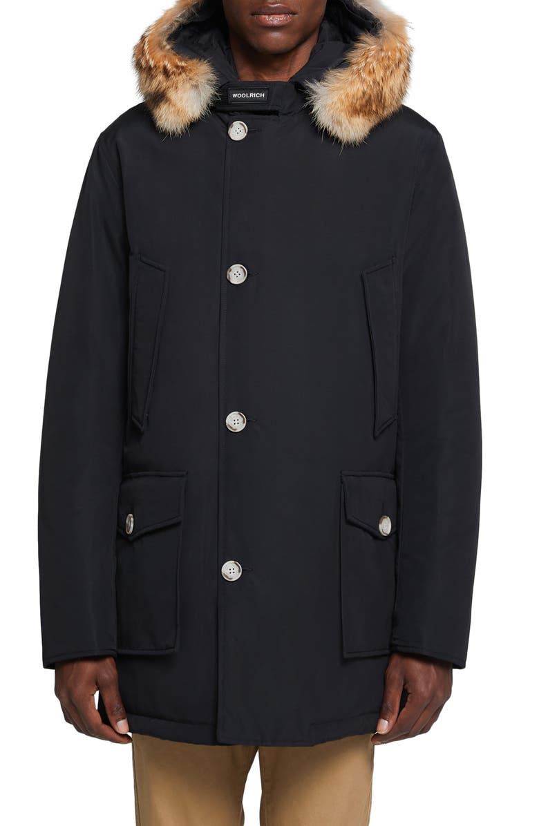 WOOLRICH Arctic Water Repellent Parka with Genuine Coyote Fur Trim, Main, color, NEW BLACK