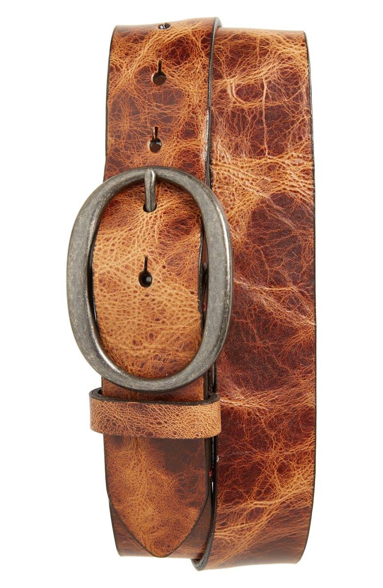 TORINO Shrunken Glove Leather Belt, Main, color, SADDLE