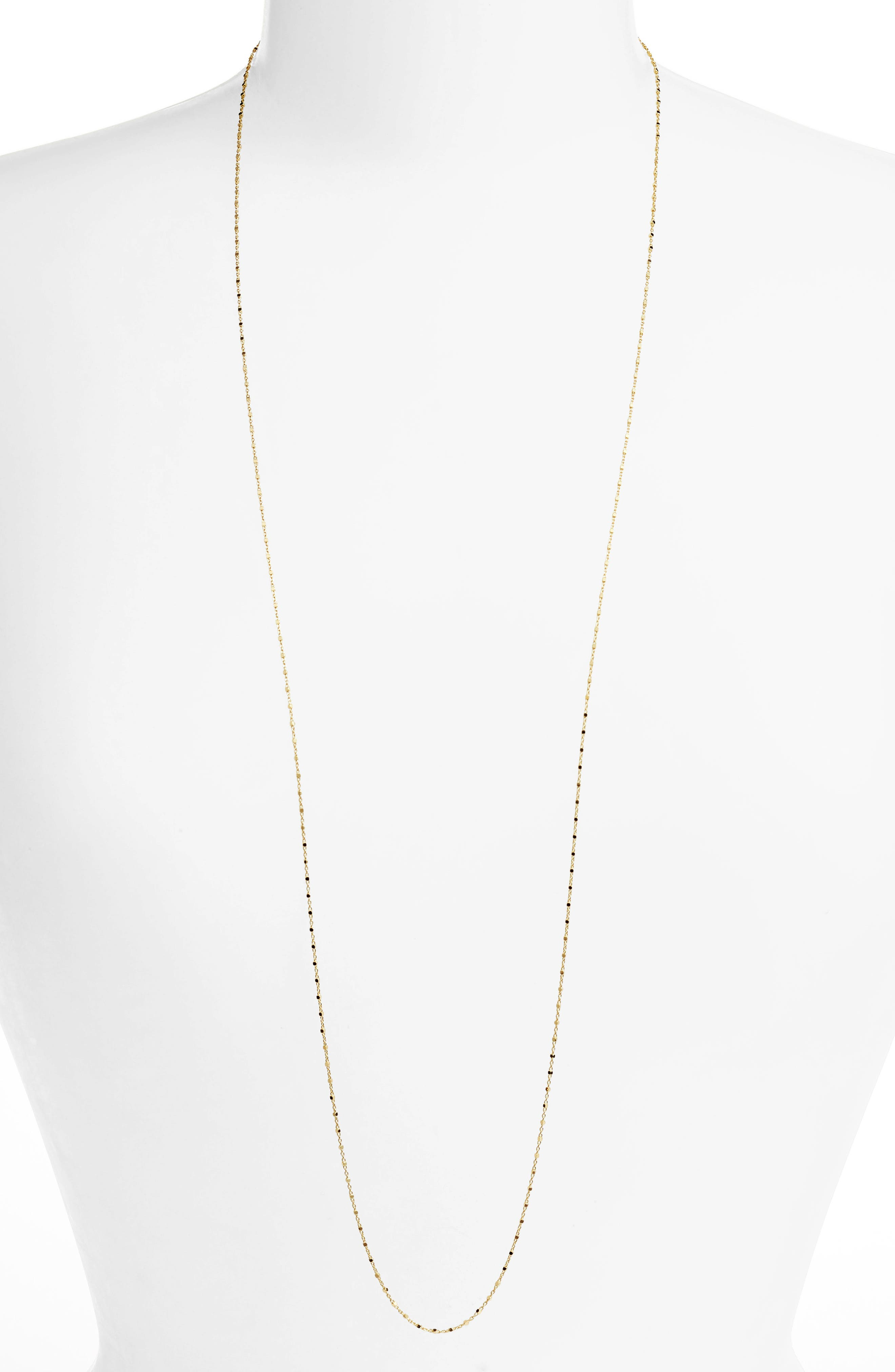 14K Gold Long Beaded Chain Necklace (Nordstrom Exclusive)