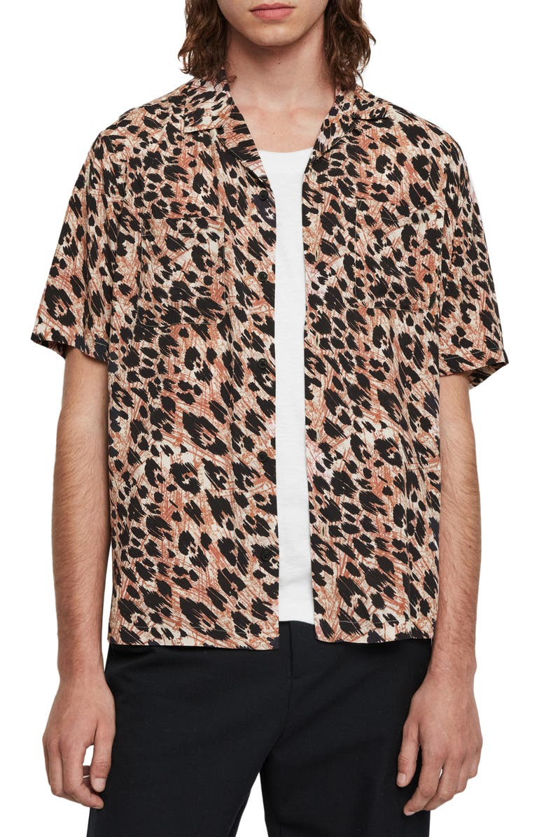 ALLSAINTS Monteray Short Sleeve Button-Up Camp Shirt, Main, color, WHITE/ORANGE/BLACK