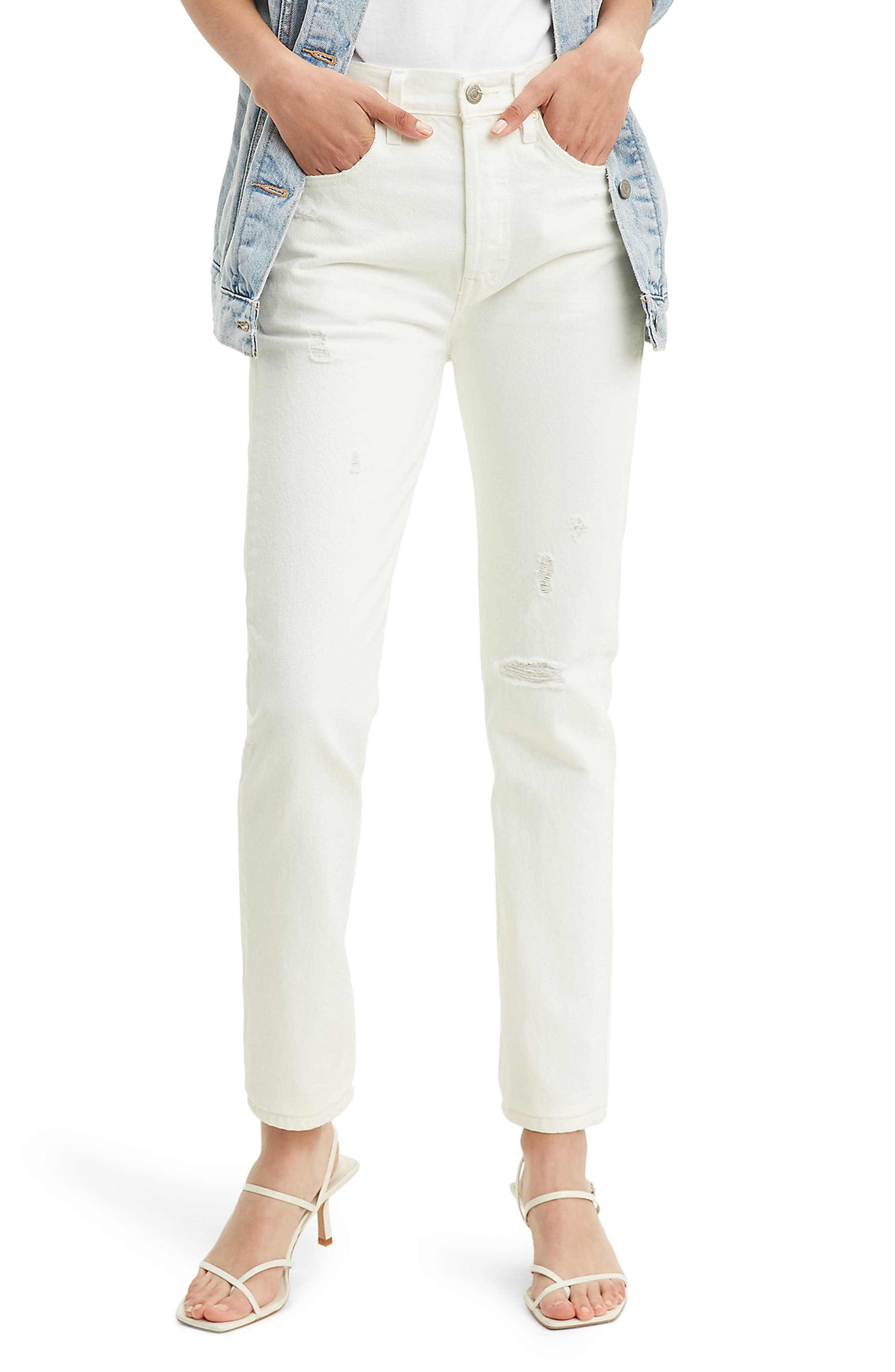Women's Levi'S 501 Distressed High Waist Skinny Jeans,  32 x 28 - White