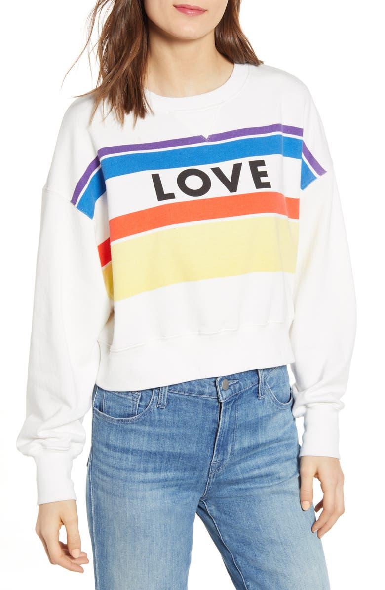 REBECCA MINKOFF Ebony Love Stripe Graphic Sweatshirt, Main, color, ECRU