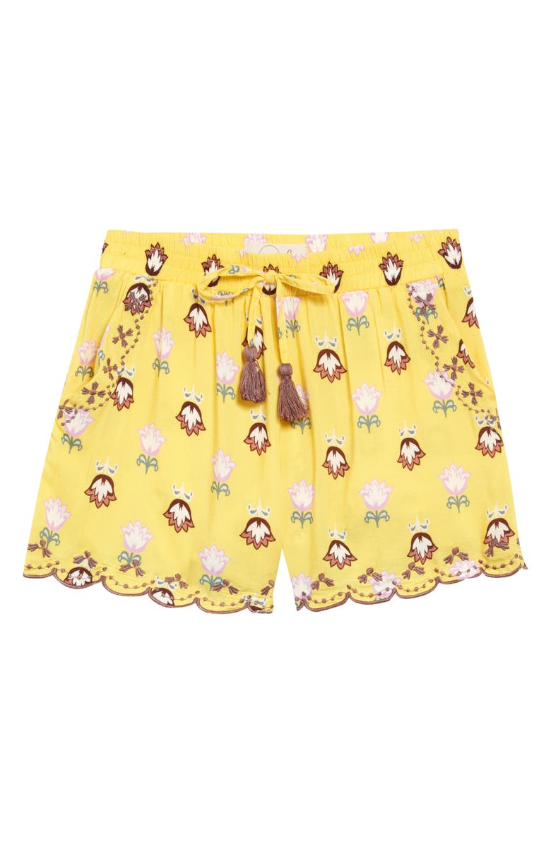 PEEK AREN'T YOU CURIOUS Isabella Scalloped Floral Shorts, Main, color, YELLOW