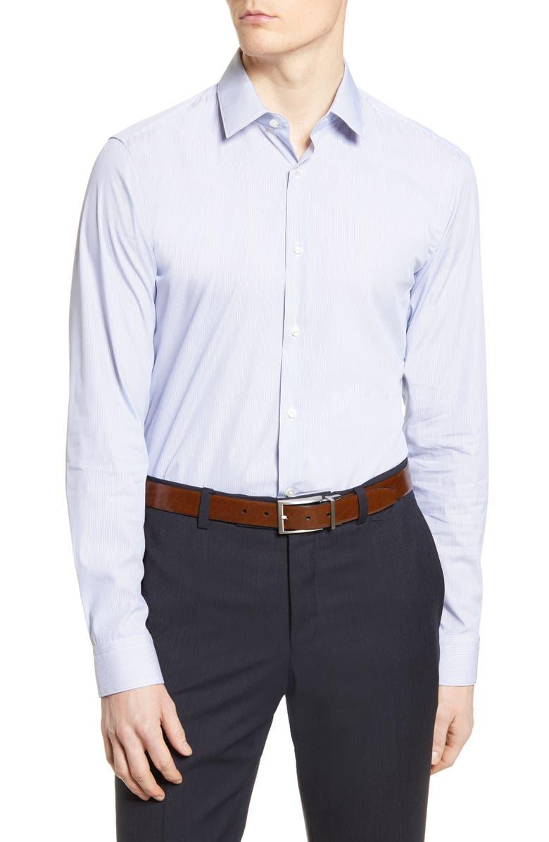 BOSS Slim Fit Stripe Travel Dress Shirt, Main, color, MEDIUM BLUE