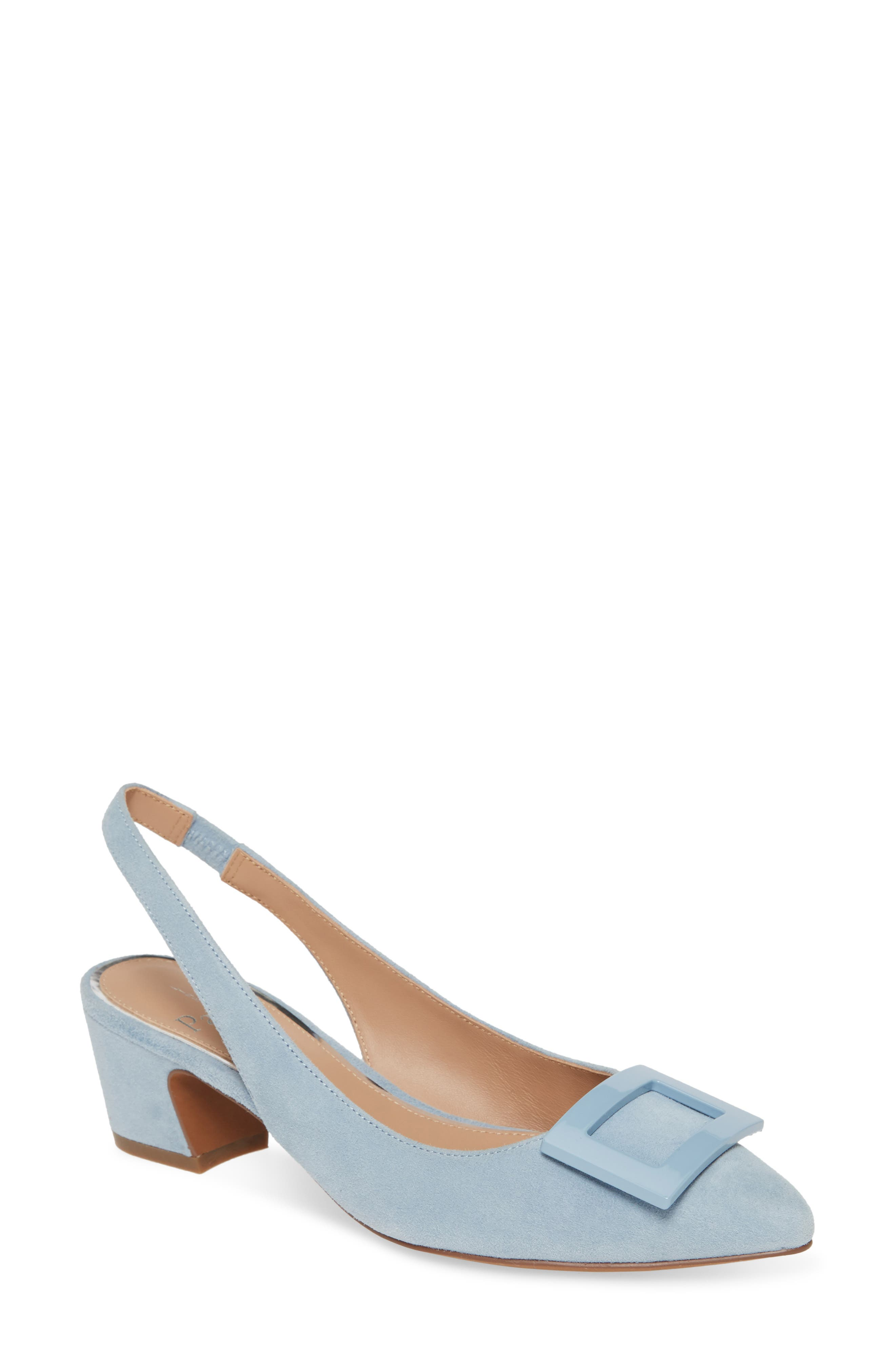 A glossy, curved buckle tops the pointy toe of a slingback pump lifted by a slanted block heel. Style Name: Linea Paolo Baize Buckle Pointed Toe Slingback Pump (Women). Style Number: 5941463. Available in stores.