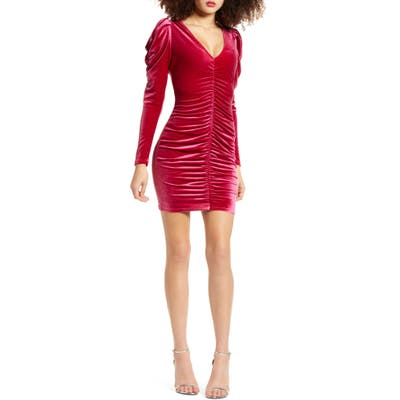 Leith Velour Ruched Long Sleeve Minidress, Burgundy