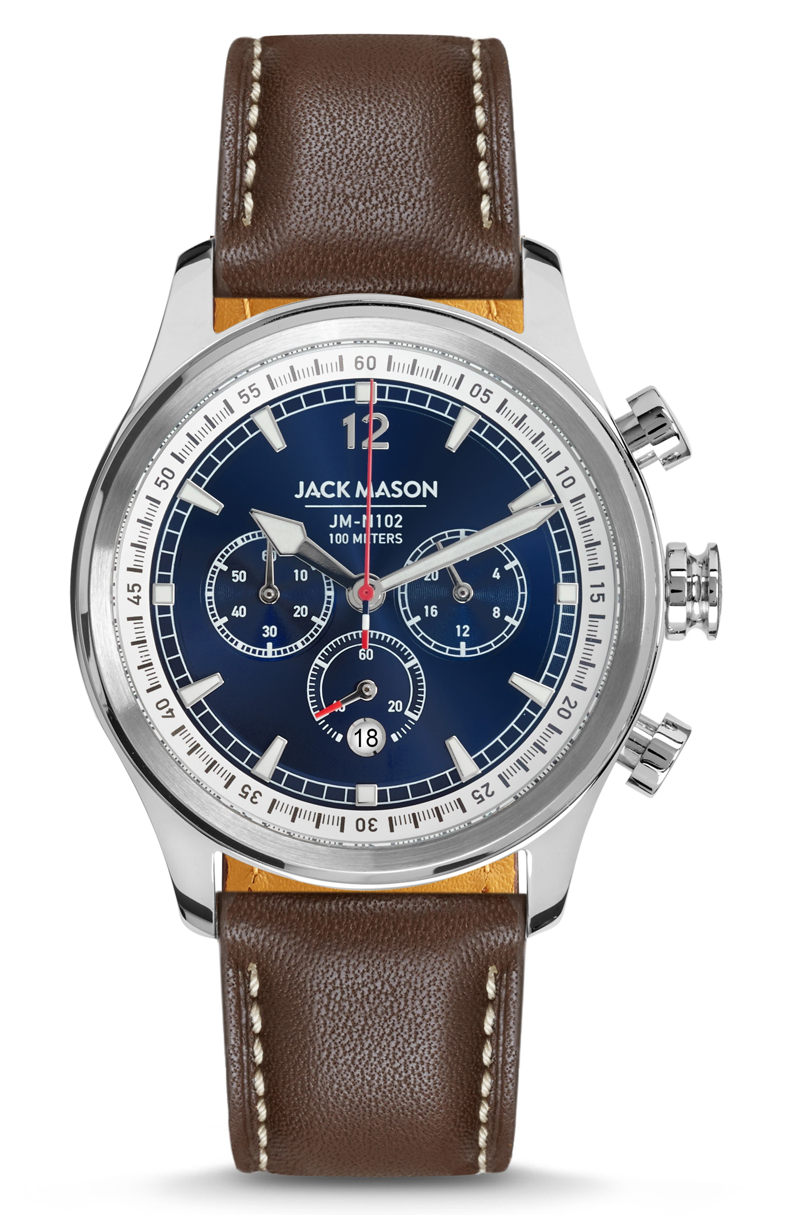 Nautical Chronograph Leather Strap Watch, 42mm, Main, color, SILVER