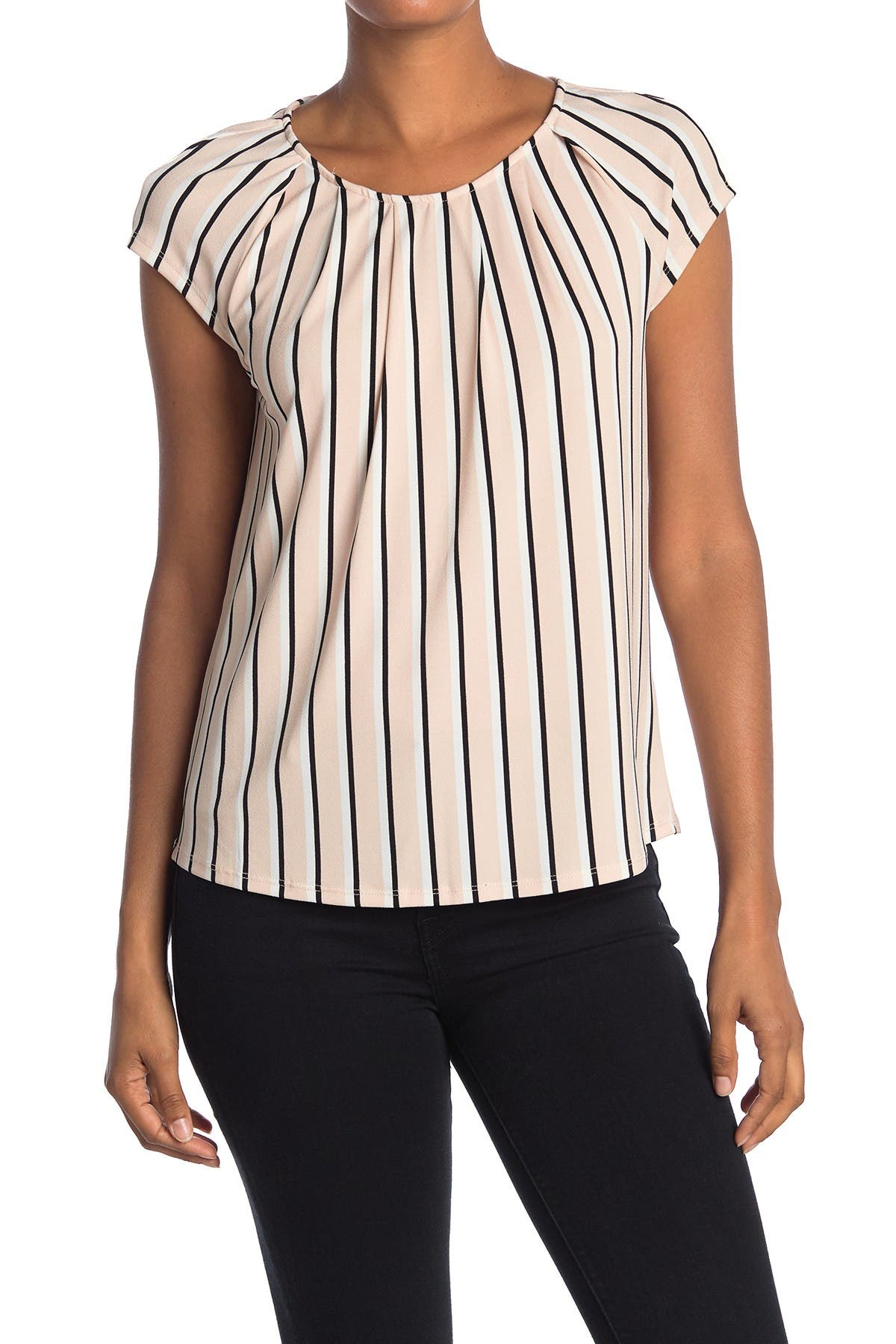 Image of Adrianna Papell Striped Cap Sleeve Top