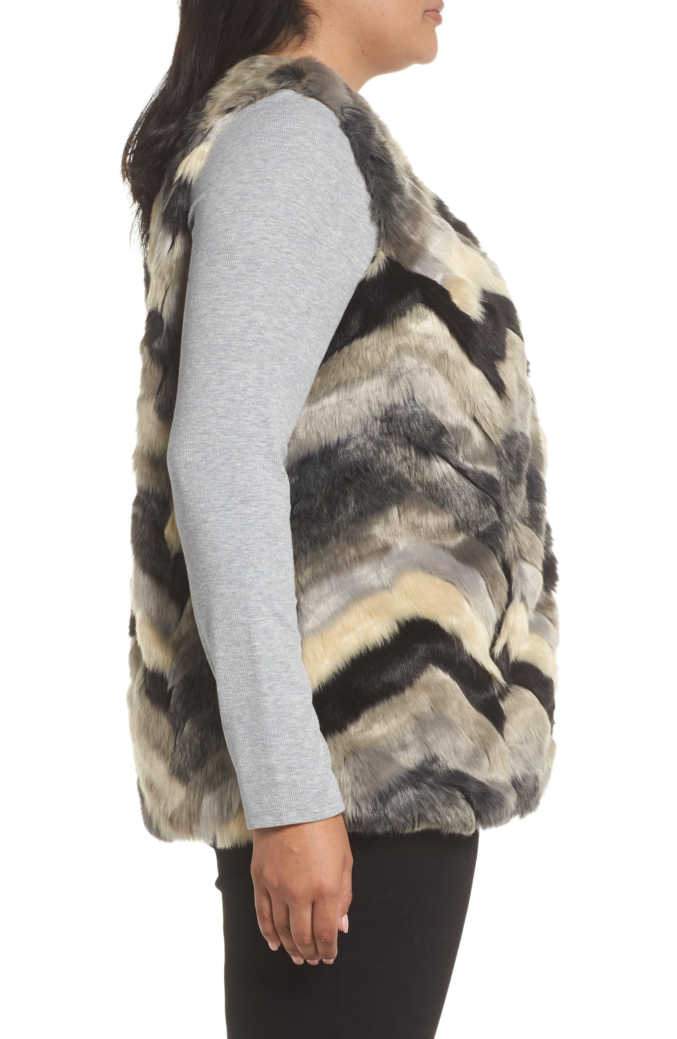 ,                             Chevron Faux Fur Vest,                             Alternate thumbnail 4, color,                             001
