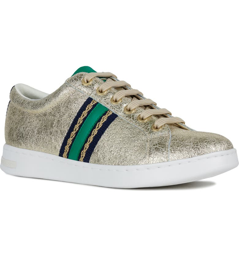 GEOX Jaysen Sneaker, Main, color, LIGHT GOLD/ GREEN LEATHER
