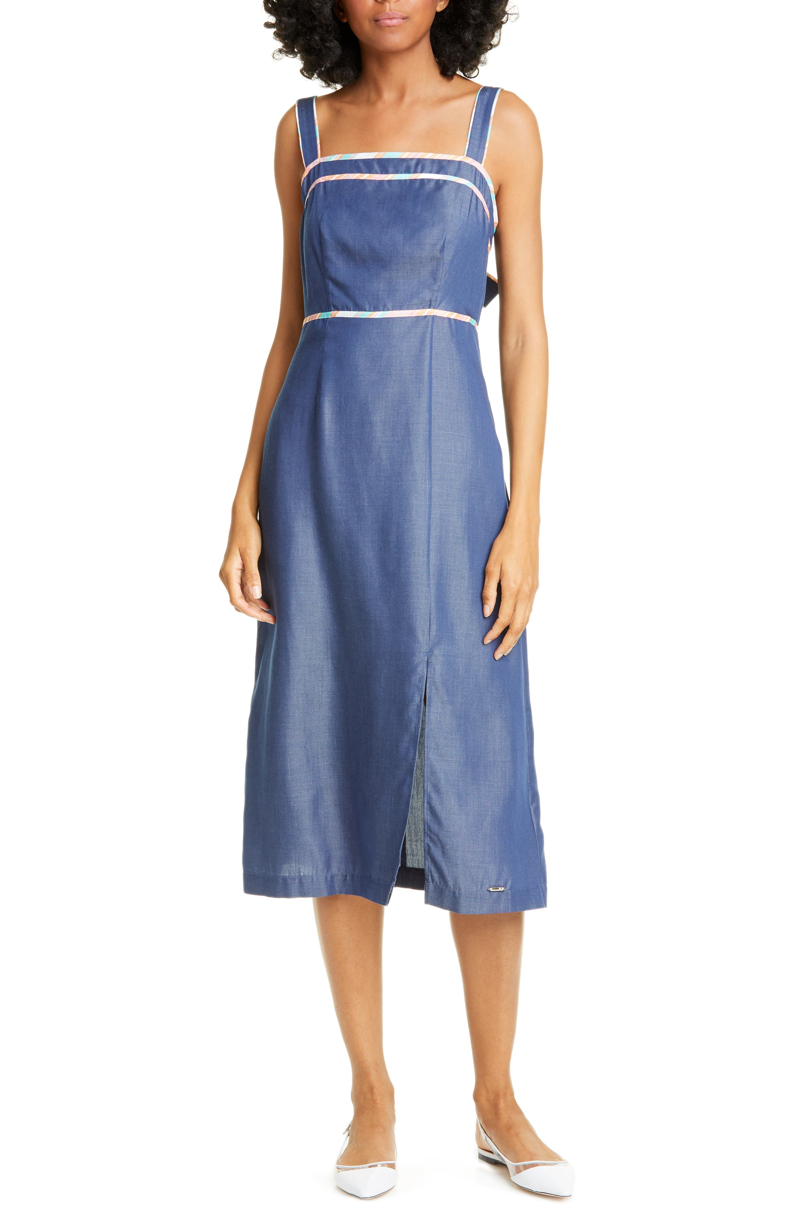 Ted Baker London Colour By Numbers Front Slit Sundress, Blue