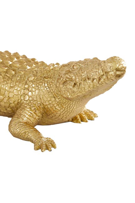 "Image of Willow Row Gold Polystone Traditional Sculpture - Crocodile - 4"" x 16"" x 5"""