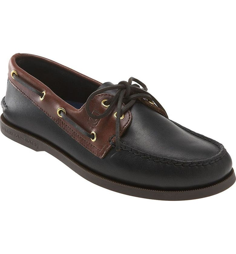 SPERRY 'Authentic Original' Boat Shoe, Main, color, Black/ Amaretto