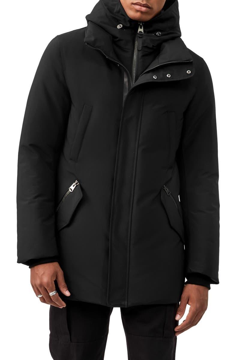 MACKAGE Edward Water Repellent Hooded Down Coat, Main, color, BLACK