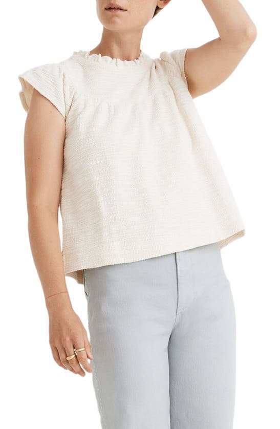 Madewell Tops TEXTURAL KNIT RUFFLE NECK TOP