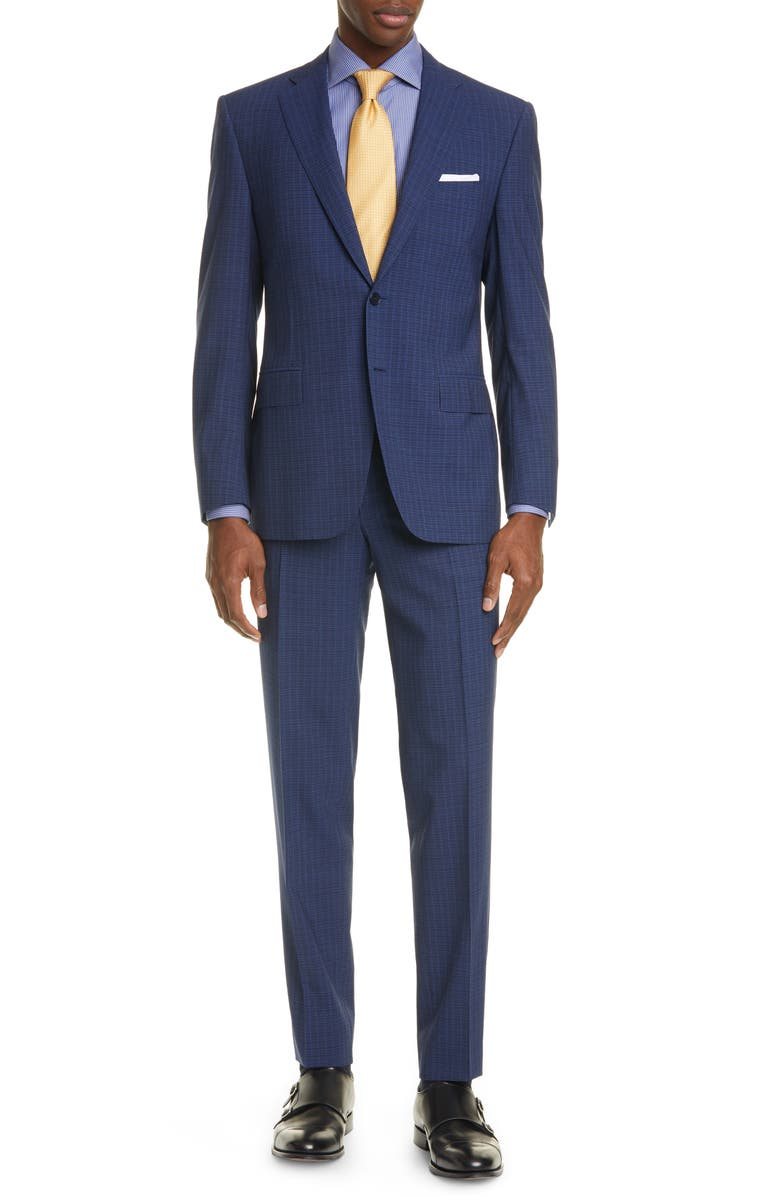 CANALI Siena Soft Classic Fit Check Wool Suit, Main, color, NAVY