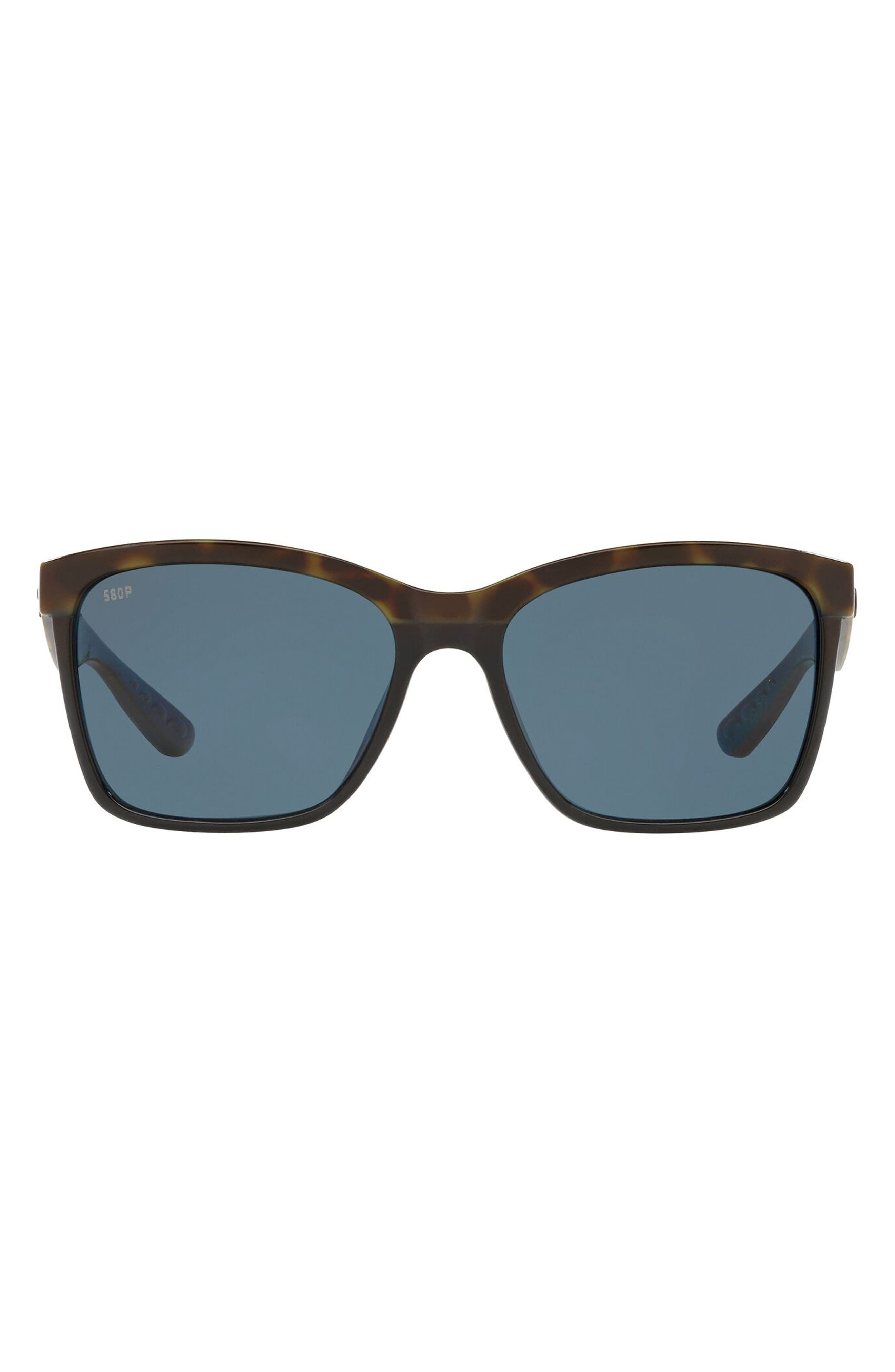 55mm Polarized Rectangular Sunglasses