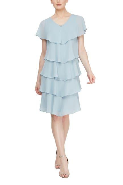 Image of SLNY Tiered Ruffle Chiffon Dress