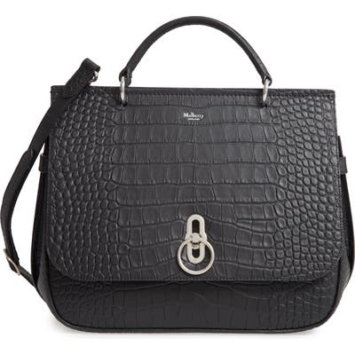 Mulberry Amberley Croc Embossed Leather Satchel - Black