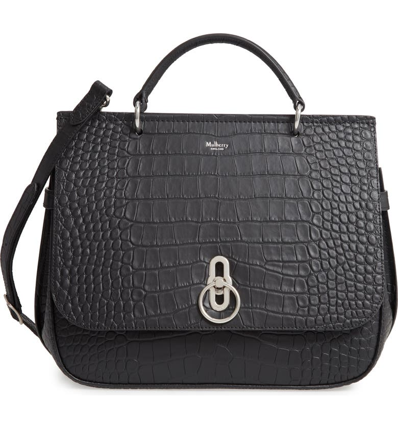 MULBERRY Amberley Croc Embossed Leather Satchel, Main, color, BLACK